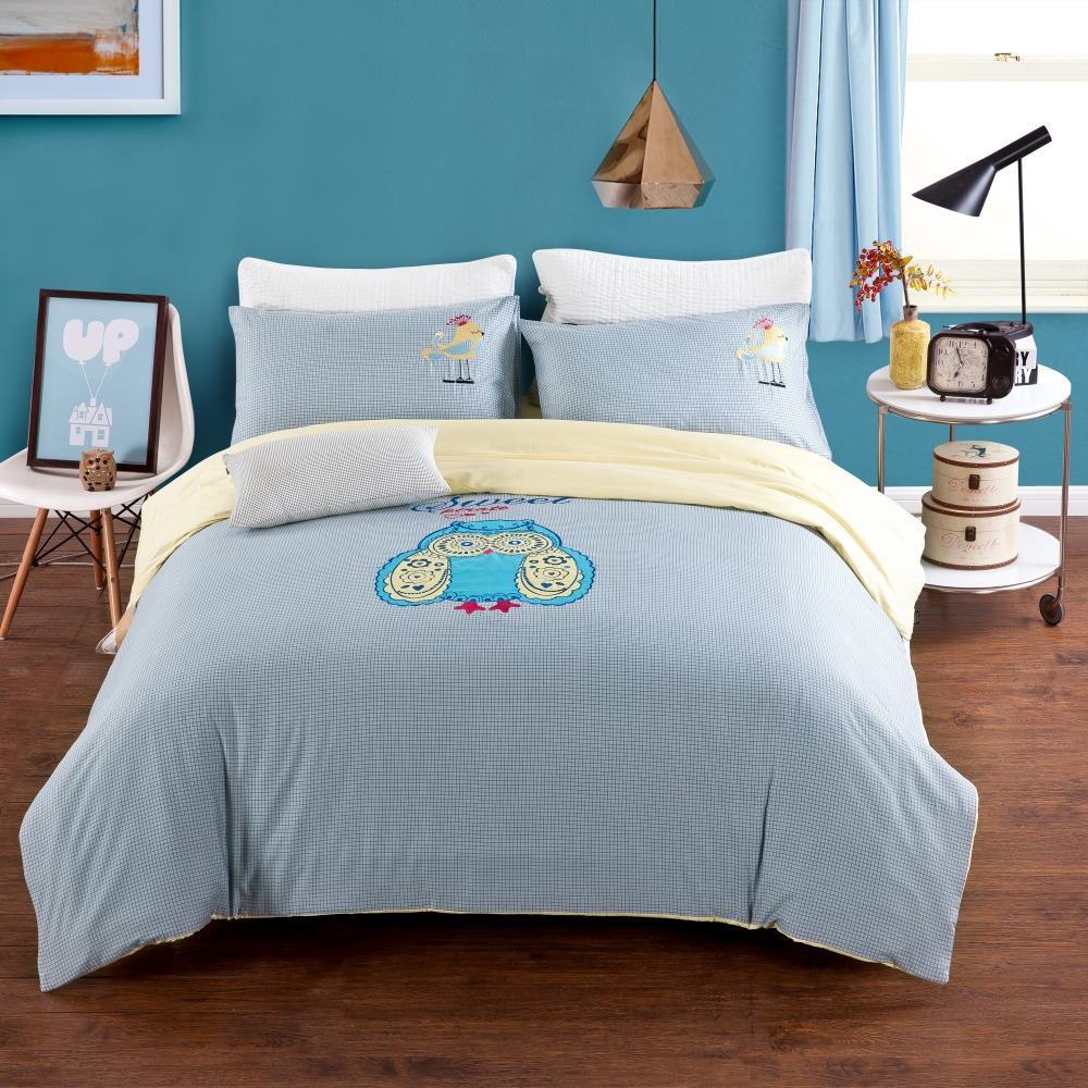 100 cotton 4pcs bedding set queen size light blue owl. Black Bedroom Furniture Sets. Home Design Ideas