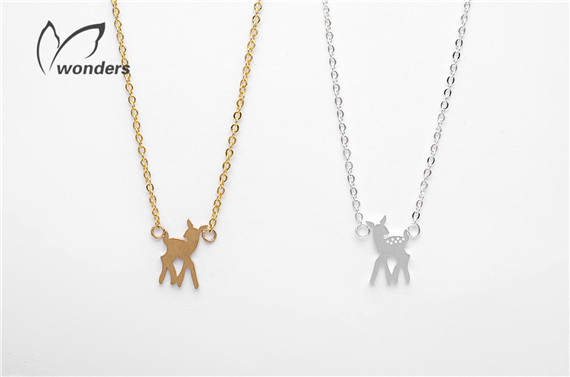 Minimalist Metal Work Bambi Deer Pendant Necklace For Women Stainless Steel Jewelry 18K Gold Silver Plated Christmas Gifts 2015(China (Mainland))