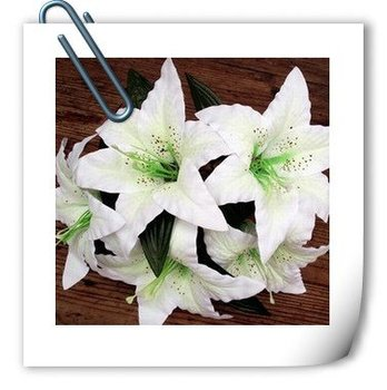hot sell:Beautiful Artificial Flower Lily Head Silk Lily Head