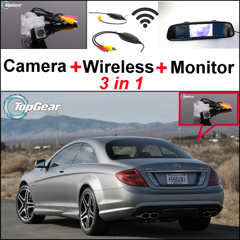 3in1 Special WiFi Camera + Wireless Receiver + Mirror Monitor Rear View Parking Back Up System For Mercedes Benz C Class MB W204(China (Mainland))