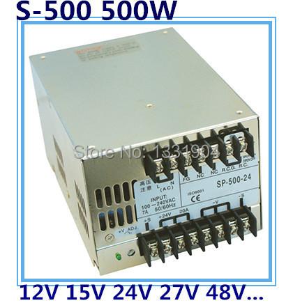 Фотография LED single phase output switching power supply S-500,500W AC input, output voltage 12V, 15V, 24V, 27V, 48V.. transformer