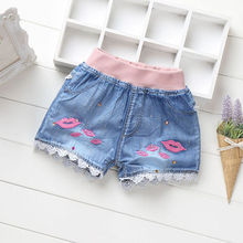 Buy Retail!5-15 years old,Children's Denim Shorts,baby girls summer fashion cartoon pure cotton jean short pants,baby girls clothes for $7.66 in AliExpress store