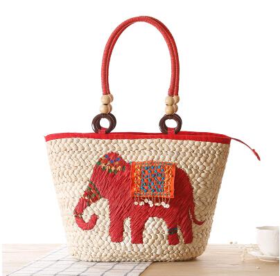 Fashion Diagonal Package Messenger Lovely Straw Bag Summer Elephant Weave Beach Shoulder Bags Tote Shopping Handbag(China (Mainland))