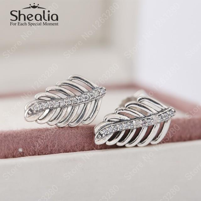Серьги 2015 осень новый урожай стерлингового серебра 925 пробы пера для женщин с ясно циркон европейский ювелирных украшений EAR026