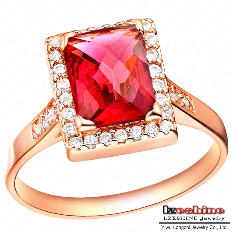 Imitation Ruby Diamond Rings For Women Real 18K Rose Gold Plated Crystal Simulated Ring Rectangle Cubic