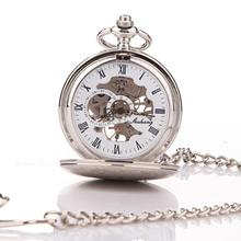 New Classic Steampunk Mechanical Stainless Steel Mens Roman women pocket watches for free shipping 052989