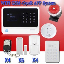 Free shipping new Internet WiFi GSM GPRS Home Security Alarm System G90B alarm Kit RFID Keypad PIR Detector Door smoke Sensor