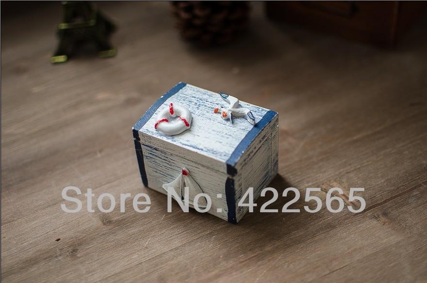 2pcs/set Mediterranean Style Wooden Storage Case Jewelry Box Make Old Sundries Box sailing Boat & Life Ring Design ,#61037(China (Mainland))