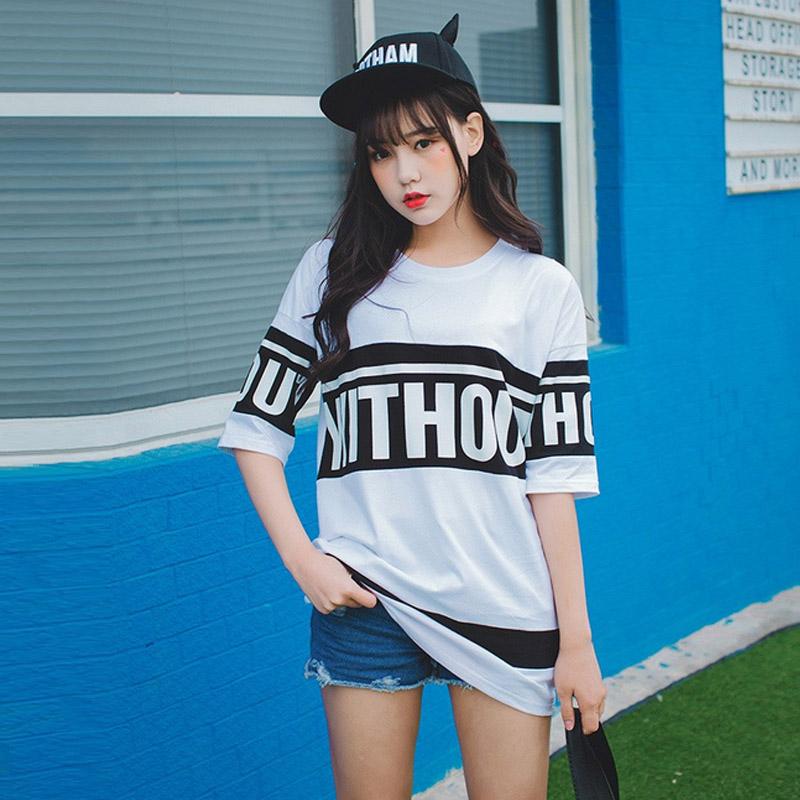 Harajuku Letter print Long t-shirt femme womens fashion Tee Summer T shirt for women tshirts cotton women top T shirt dress(China (Mainland))