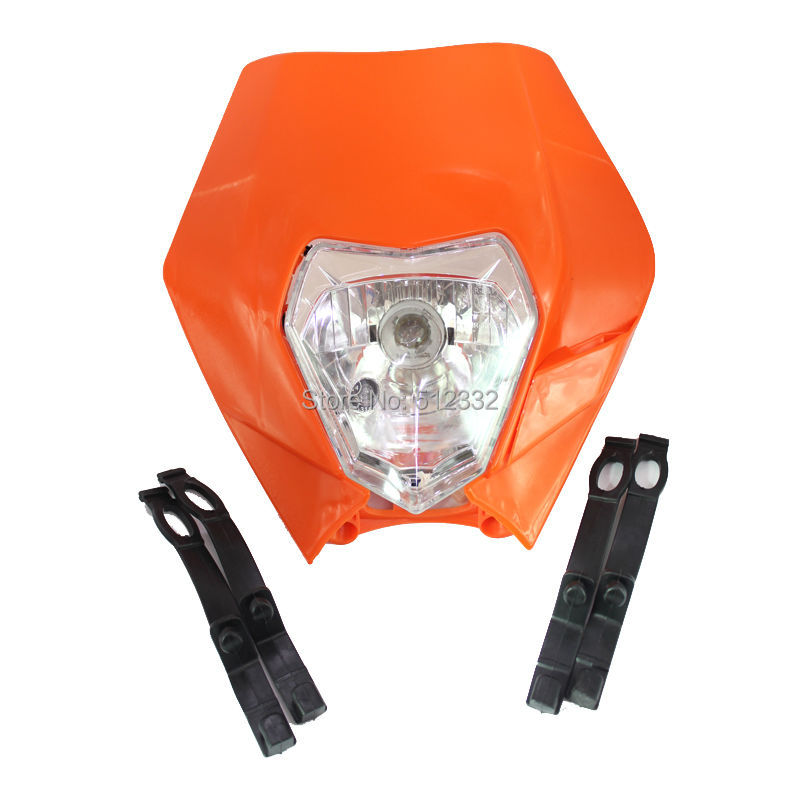 Orange Universal Motorcycle Headlight Head Light Fairing Street fighter Enduro Cross Drop(China (Mainland))