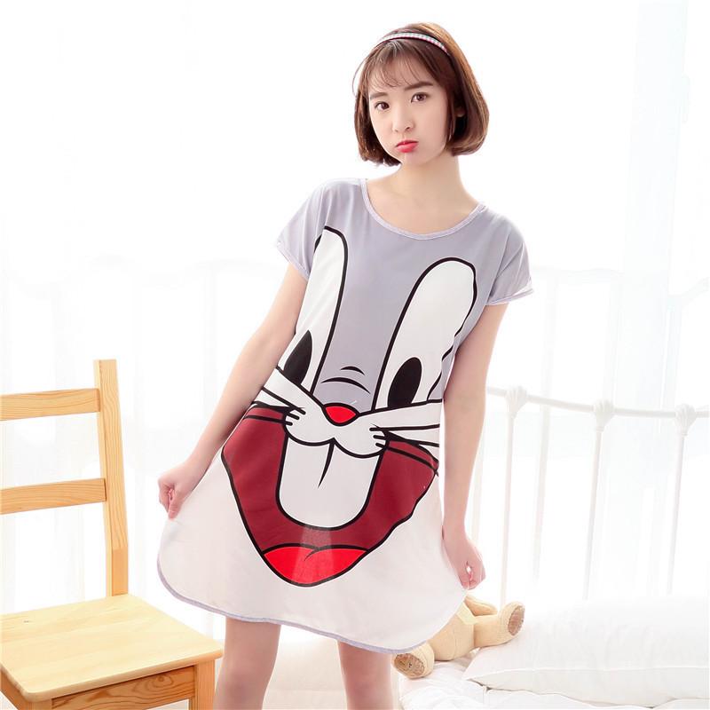 New 2016 Lounge Cartoon Women Nightgown lovely Cartoon 90S Women's Sleepwear Summer Cool Short Sleeve Dress Loose Sleepshirt(China (Mainland))