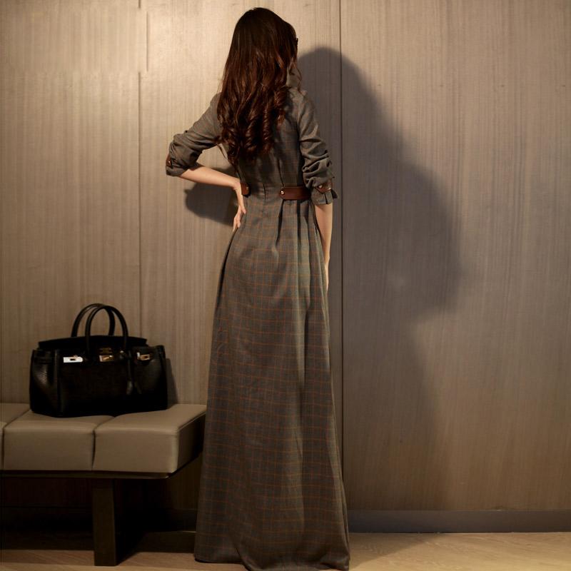 HIGH QUALITY New Fashion 2016 Spring Women's Long Sleeve Elegant Plaid Casual Maxi Long Dress Size S-XXL