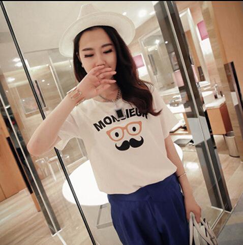 2015 женщин летняя футболка одежда о-образным вырезом усы очки печатных короткий дна топы бесплатная доставка