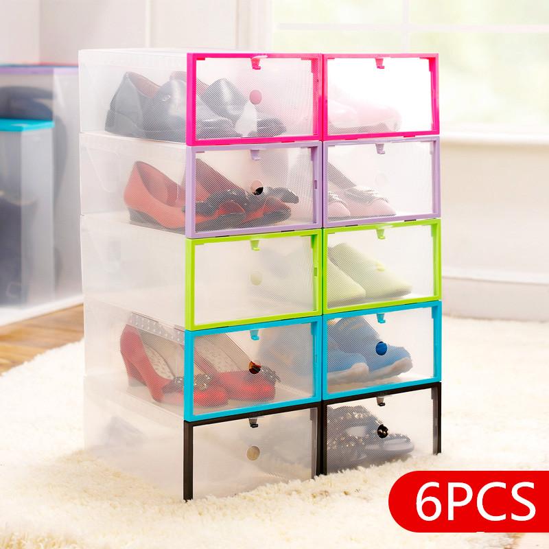 6PCS DIY brand new thicker drawer clear shoe box rectangle prevent dust plastic organizer box ,purple Pink blue black green(China (Mainland))