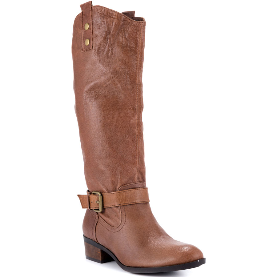 Brown Soft Leather Knee High Women Boots Round Toe Square Heel Long Ladies Shoes High Boots Made-to-order US14 Plus Size Shoe