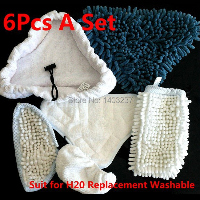 1Kit =6pcs Steam Cleaner Mop Pads Washable replacement Pads suit for H2O X5 H20(China (Mainland))