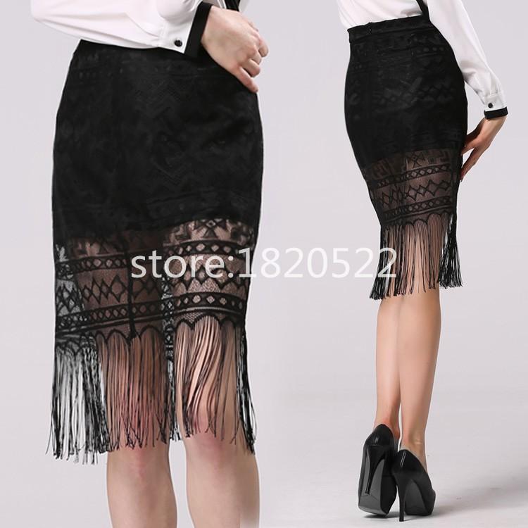 Hot Sale Women's Fashion Sexy Black Lace Fringes Hip Package Badycon Stylish Skirt(China (Mainland))