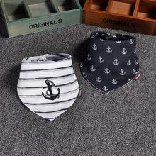 2 uds. Bandana de algodón Baberos doble capa bufanda de Saliva Toalla de triángulo de impresión de dibujos animados de moda para recién nacido Niño niña DS19(China)
