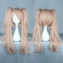 Quality Girls Long Curly Pink Manga Super Danganronpa 2 Cosplay Junko Enoshima Wig Ponytails(China (Mainland))