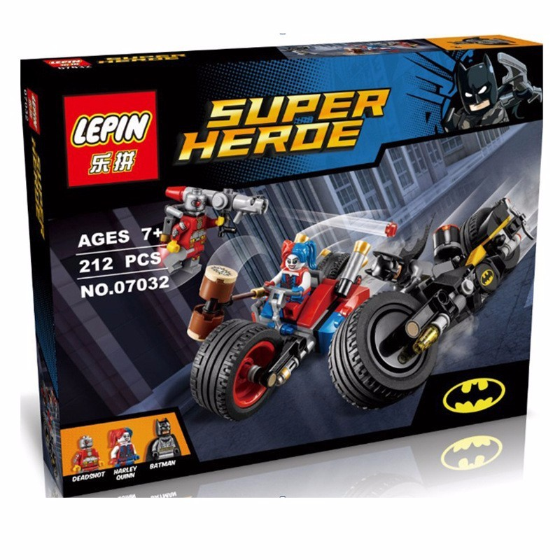 LEPIN 07032 Super Hero Mini-DOLL Mighty Micros Deadshot Harley Queen Batman with motorcycle Blocks Toys compatible Action fiugre