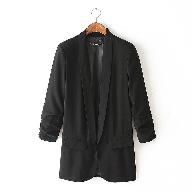 OA34 Мода 2015 женщин три четверти рукав белый карман нет кнопки офис блейзер feМиниno Женский пиджак повседневная марка blaser