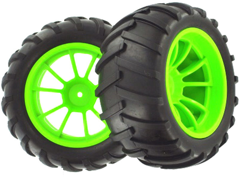 Free shipping HSP 08010 Green Wheel Complete 2 pcs 1/10 Scale For HSP Nitro RC Monster Truck(China (Mainland))