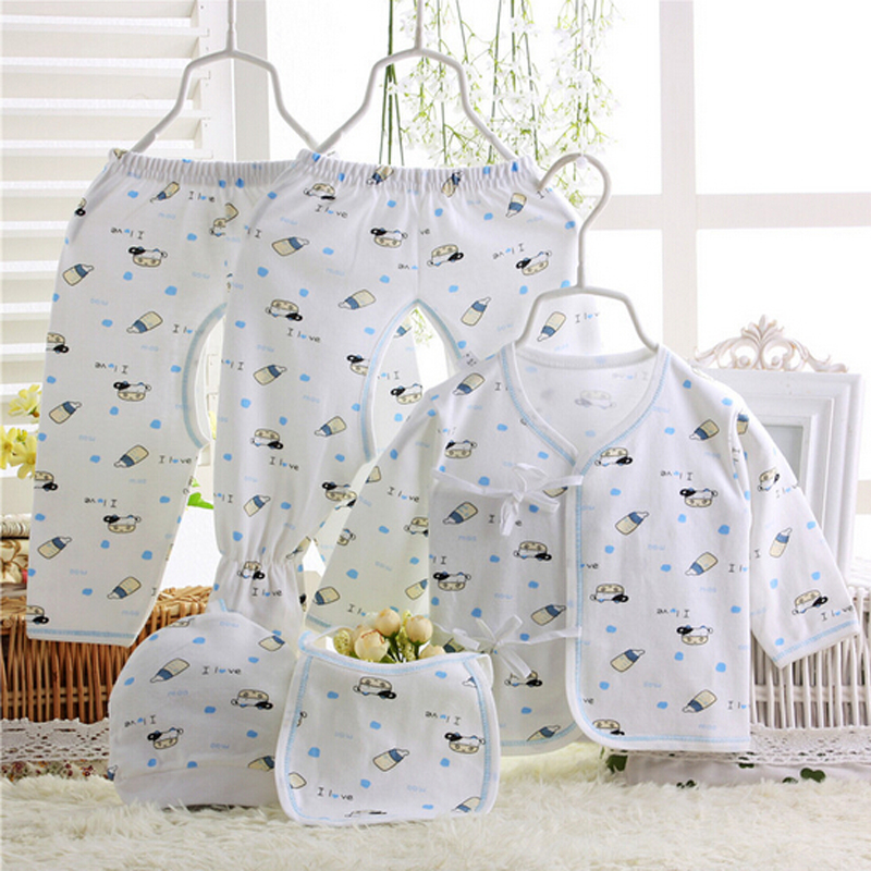 new set 100% cotton newborn clothes 5pc/set fit spring summer autumn comfortable underwear printed cartoon brands baby clothing(China (Mainland))