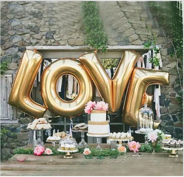 4pcs/lot 40inch gold silver LOVE foil balloons letter balloons wedding party decoration helium balloon valentine's day supplies(China (Mainland))