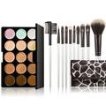 Professional 15 Colors Make Up Set Contour Face Cream Makeup Concealer Palette 10 Pcs Cosmetic Brush