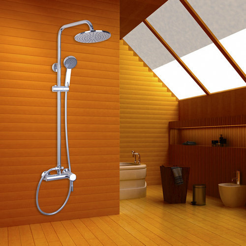 Wall Mount Chrome 8 ABS Shower Head Soild Brass Valve Hand Spray Hook H