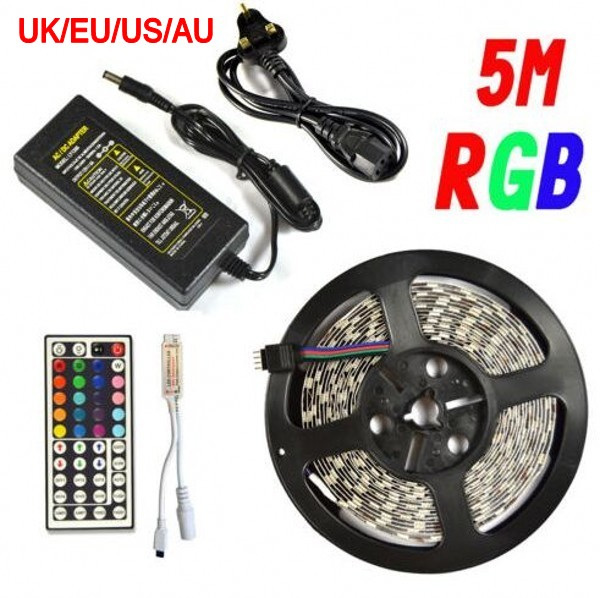 5M RGB SMD 5050 LED Strip Light 30/60leds/m non waterproof IP65 44Key IR Remote Controller 12V 2A 6A Power Supply Adaptor(China (Mainland))
