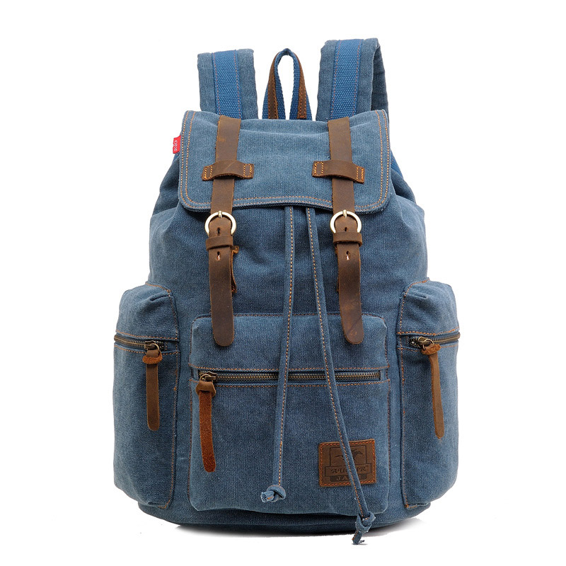 Hot Sale Vintage Canvas Backpack Fashion Unisex Solid Travel School Bags Laptop Computers Backpacks Men Belts Backpack 10 Colors(China (Mainland))