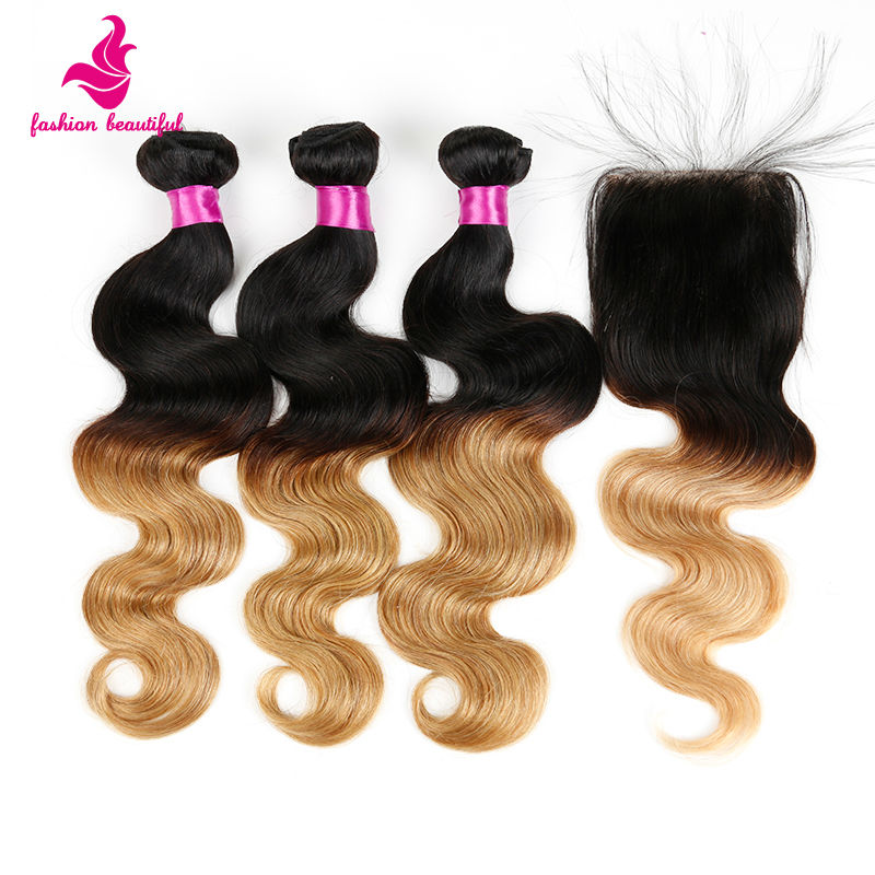 Loving Hair Ombre Body Wave Peruvian Virgin Hair With Closure Ombre Human Hair Bundles With Lace Closure 3/4Bundles With Closure<br><br>Aliexpress