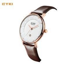 EYKI Men Watches New Luxury Brand Ultra Thin Full Genuine Leather Clock Male Casual Sport Watch Men Wrist Quartz Watch EET1029