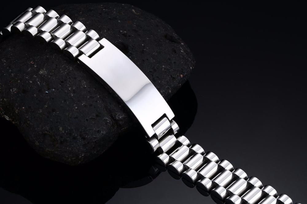 Mens bracelets Free Stainless Steel Made Scratch Resistant Id Bracelet Edelstahl Armband Men Jewelry silver 18