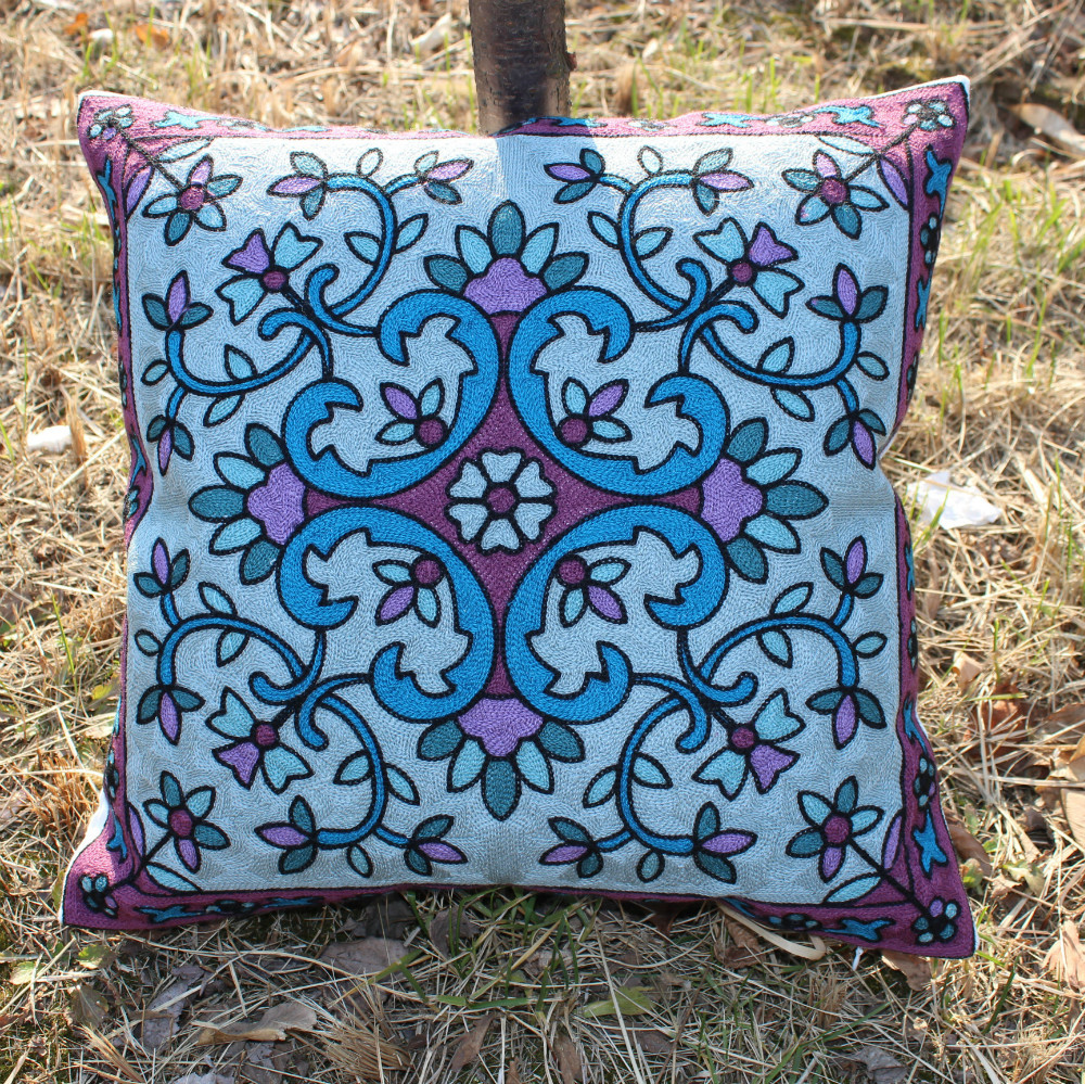 Throw Pillow On Chair : VEZO HOME embroidered floral cotton canvas sofa cushions cover throw pillows cover chair home ...