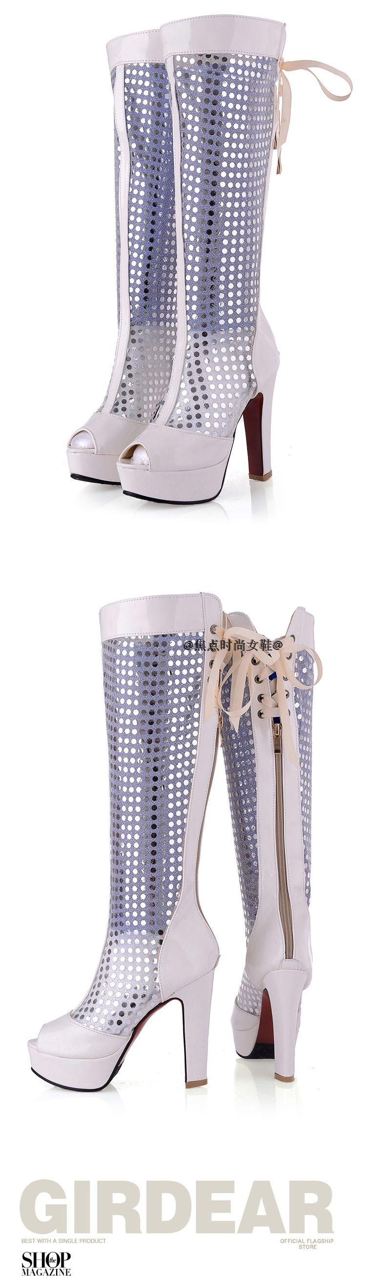 2015 New Women Sexy Thick High Heels Boots Cutout Lace Up Knee High