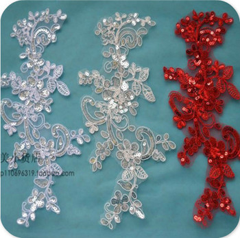 White/Black/Red Wedding Dress Applique DIY Bride Hair Accessory Lace Fabric Patch 6pairs/12pcs/lot