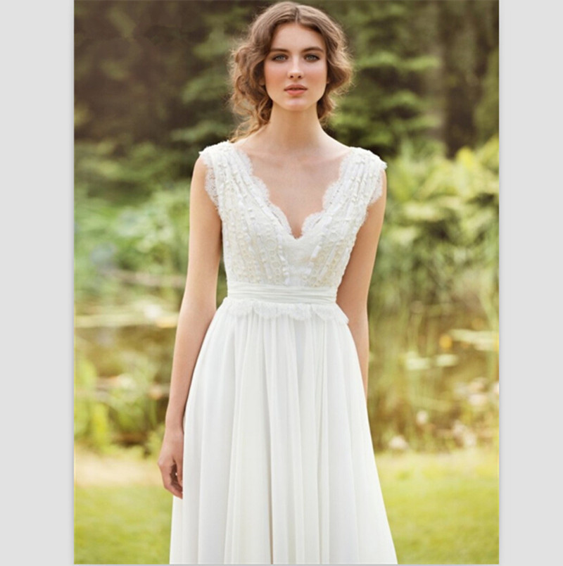 White A Line Wedding Dresses : Aliexpress buy white chiffon wedding dresses