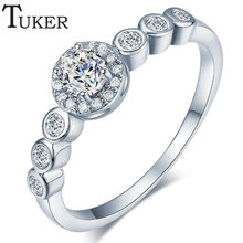 Buy TUKER Womens Exquisite Wedding Ring Austrian Zircon Wedding Band Women Ring Plated Wholesale Silver Ring Supplier for $2.56 in AliExpress store