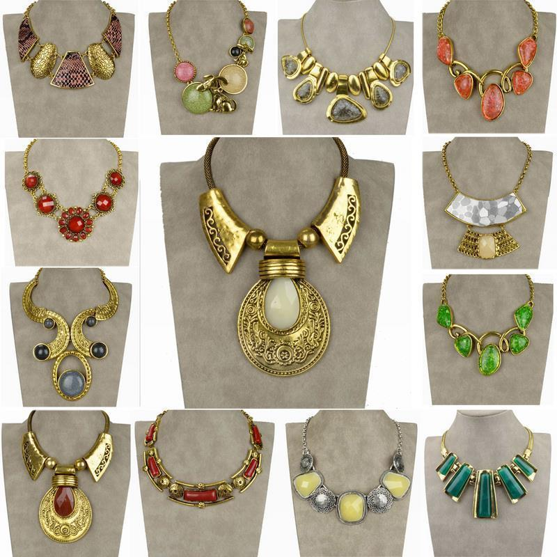 Trendy Stylish Vintage Necklce For Women 2015 Colorful Resin Alloy Flower Choker Collar Necklace Jewelry Bib