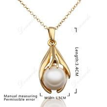 Free shipping Fashion jewlery Wholesale 18K Gold Plating Pearl Grace Wedding Pendants Necklace Accessories N593