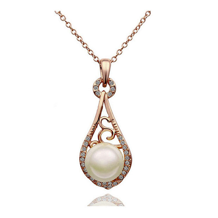 2015 Hot Korean luxurious and elegant fashion pearl rhinestone necklaces wholesale hollow lute rose gold women jewelry pendants(China (Mainland))