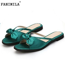 Buy Female Flats Sandals Bowtie Slipper Solid Color Flat Sandal Summer Shoes Women Party Classic Beach Vacation Footwears Size 35-39 for $12.12 in AliExpress store