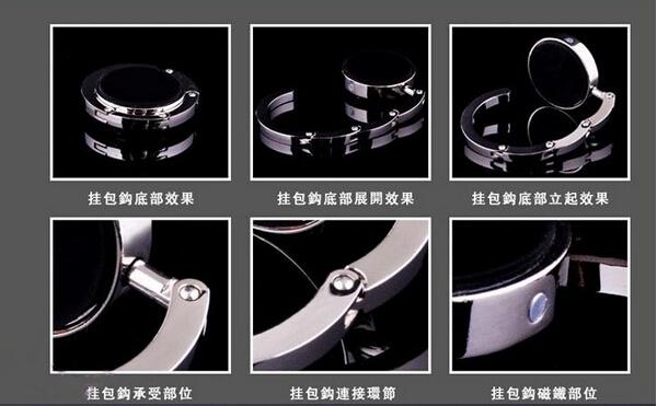 New 2015 Portable Foldable Folding Crystal Alloy Purse Handbag Hook Hanger Bag Holder(China (Mainland))