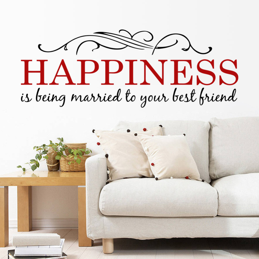 2015 happiness quotes home decoration wall sticker decals for Living room quote stickers