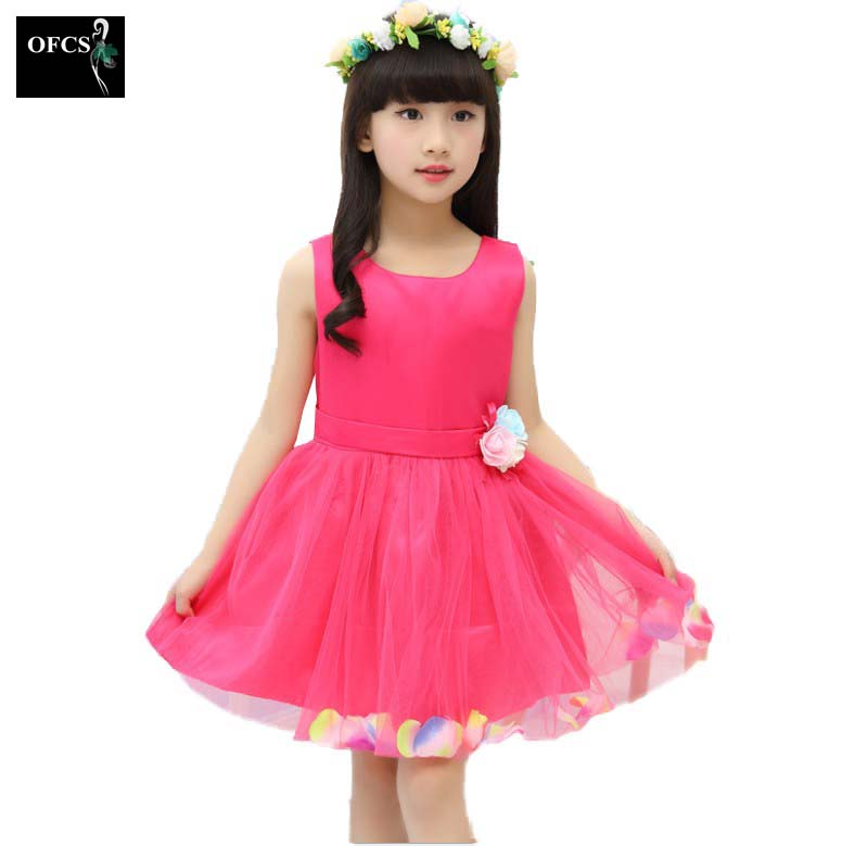 2017 Kids Infant Girls Bud Silk Flower Dress Children Bridesmaid Toddler Elegant Dress Pageant Wedding Bridal Formal Party Dress(China (Mainland))