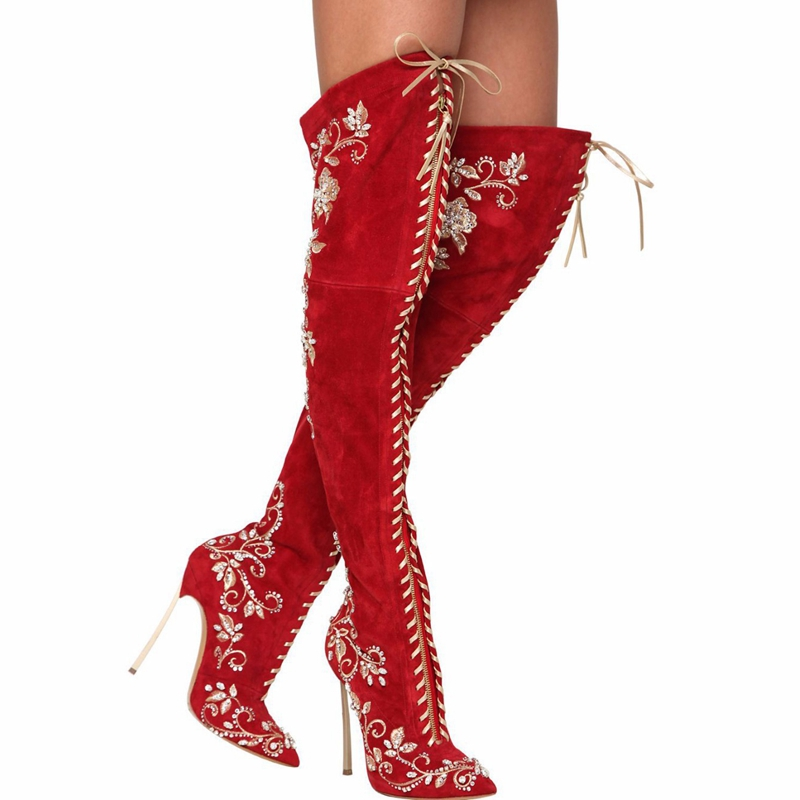 2015 New Europe Fashion Red Genuine leather Tip toe Embroidery flower ladies long boots Metal high heel woman boots(China (Mainland))