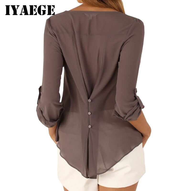 IYAEGE Loose Casual Fall Blouses Women Long Sleeve Deep V Neck Chiffon Blouse Shirt Button Back Asymmetric Ladies Tops 8 Colors(China (Mainland))