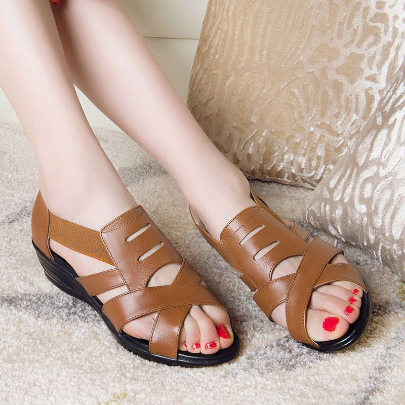 Summer Sandals Shoes Woman Soft High Qulaity PU Leather Mother's Shoes Solid Elastic Band Mature Women's Shoes Size Plus XWZ2003